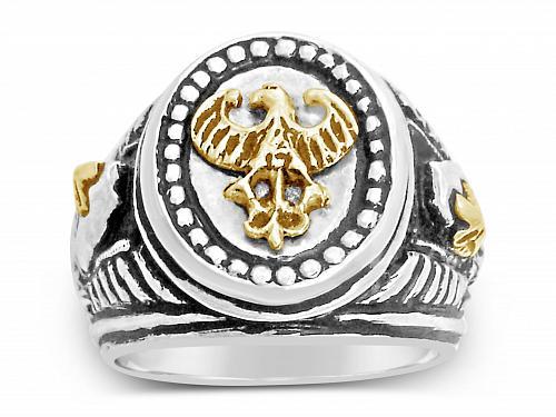 10K German eagle Teutonic Knights helmet Signet ring*