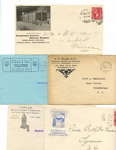 Plumbing General- 20 Envelopes (Some Fronts Only) - See Scans