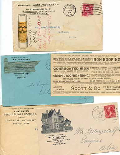 Roofing - 11 Envelopes - Scarce - 4 Flyers (Very Fragile)
