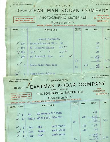 Eastman Kodak Co - 23 Invoices All With Same Headings