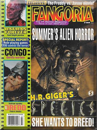 Fangoria #144 (1995) *Species / Batman Forever / Judge Dredd / Congo*