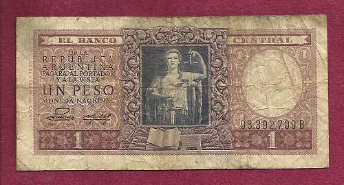 Argentina 1 (Un) Peso 1947 Banknote 98392709B - Justice Sword & Scale p260 Banknote