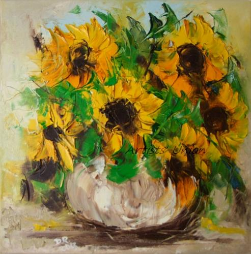 Sunflowers Original Oil Painting Still Life Impressionism Impasto Palette Knife Vase