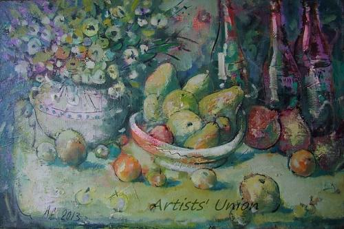 Still Life Original Oil Painting Fine Art Flower Fruit Pomegranate Apple Wine Bottles