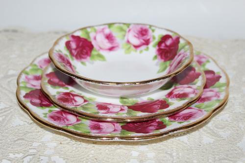 Vintage Royal Albert Old English Rose 5 Piece Set Teacup & Saucer, Salad Plate, Side