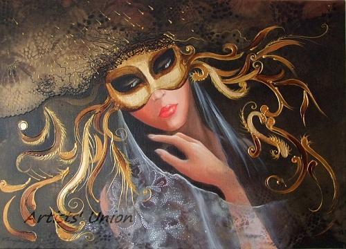 Venetian Original Oil Painting Woman Portrait Gold Mask Hat Venice Carnival Costume