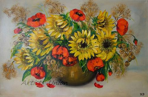 Sunflowers Original Oil Painting Red Poppies Impasto Still Life Palette Knife Texture