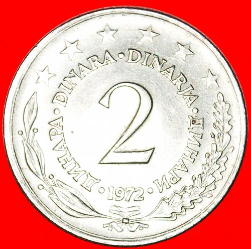 + LARGE TYPE (1971-1981): YUGOSLAVIA ★ 2 DINAR 1972 MINT LUSTER! LOW START