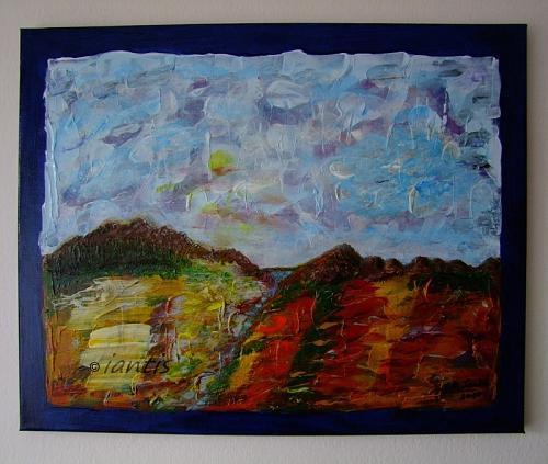 J. M. Iantis Autumn Landscape Original Acrylic Painting Modern Abstract Textured Art