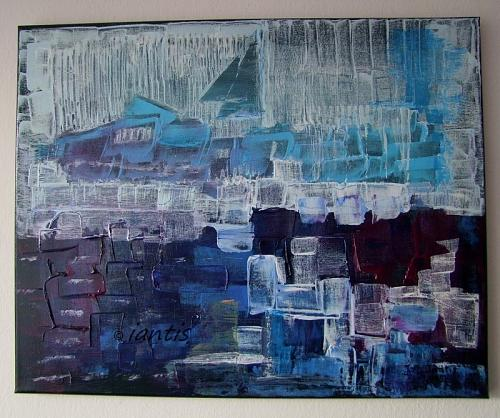 J. M. Iantis Seascape Abstract Original Painting Harbour Impasto Blue Purple Modern