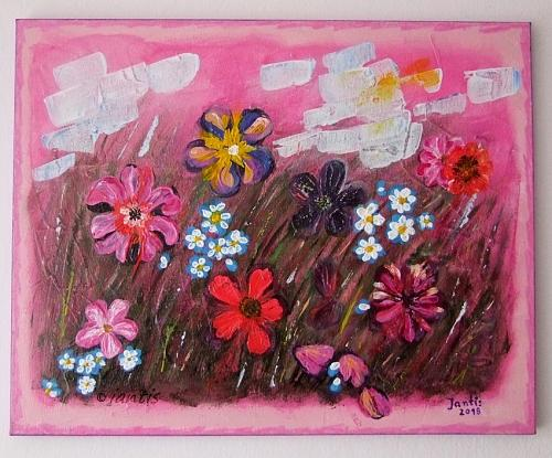 Abstract Meadow Original Acrylic Painting Impasto Art Iantis Flowers Landscape Pink