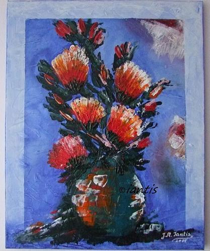 J. M. Iantis Abstract Still Life Modern Art Original Acrylic Painting Impasto Flowers