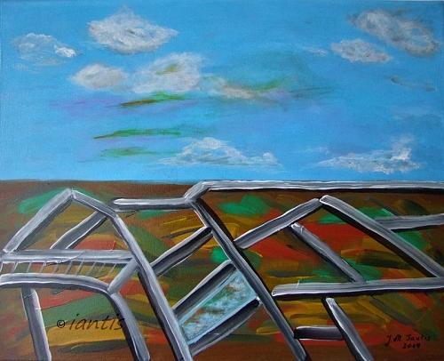 J. M. Iantis Landscape Autumn Geometric Net Original Acrylic Painting Abstract Modern