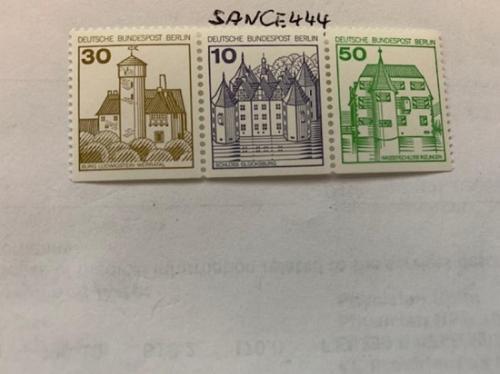 Berlin Castle 30+10+50p bottom imperf. strip mnh 1980