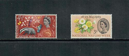 1963 COMMEMORATIVE SET NATIONAL NATURE WEEK ISSUE, MINT HINGED 170519