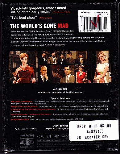 Mad Men - Season 3 DVD 2010, 4-Disc Set - Very Good