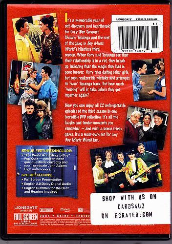 Boy Meets World - Complete 3rd Season DVD 3-Disc Set - Very Good