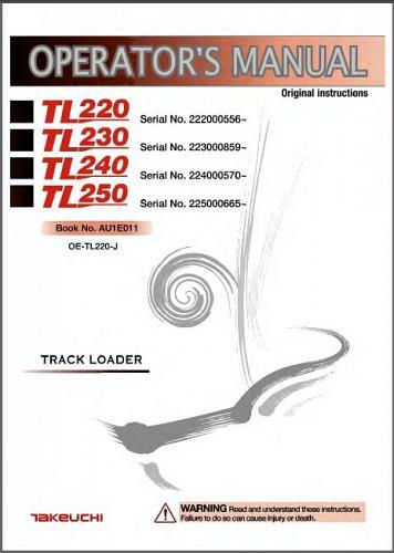 Takeuchi TL220 Track Loader Service Workshop Manual on a CD - TL 220