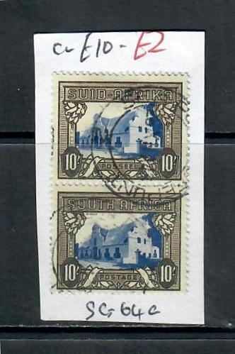 SOUTH AFRICA 10/- PAIR MOUNTED, USED