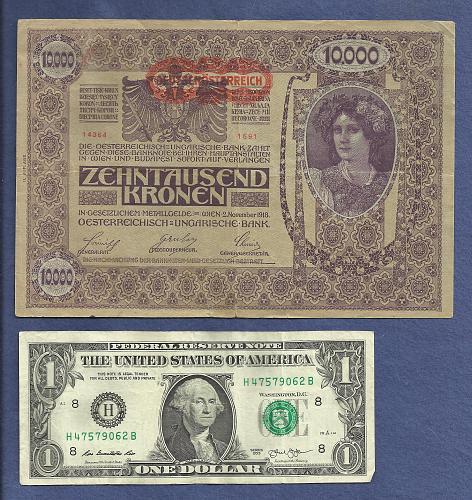 AUSTRIA HUNGARY EMPIRE 10000 (II Edition) Kronen 1918 Banknote 14364 Series 1691