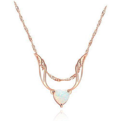 """18K European Rose Gold Delicate Fire Opal Guardian Angel Necklace 18"""" (#FJ026641)"""