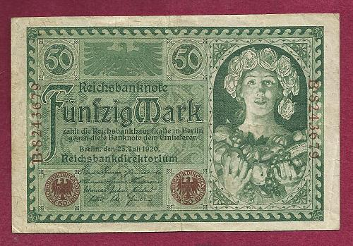 GERMANY 50 MARK 1920 Banknote B8243679 -Weimar Republic Woman Right wFlowers/Fruit