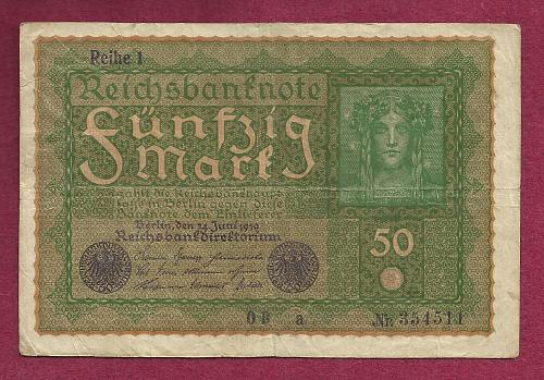 GERMANY 50 MARK 1919 Banknote 354511, Reiche 1 - Woman at Right