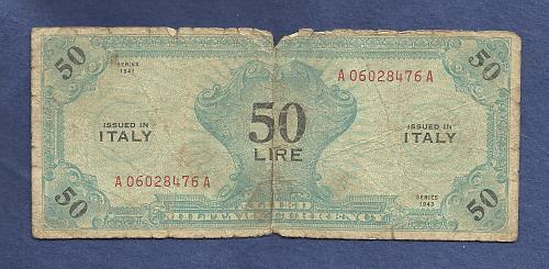 Italy 50 LIRE 1943 Banknote A06028476A - WWII Issue Allied Military Currency M14