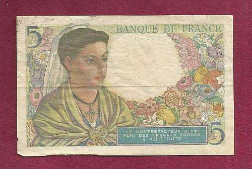 FRANCE 5 FRANCS 1943 Banknote 050395107 Historic WWII ISSUE Shepherd Woman w/Flowers