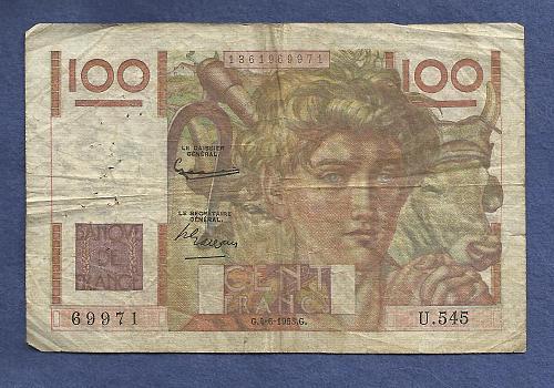 FRANCE 100 Francs 1953 Banknote No 1361969971 - JEUNE PAYSA
