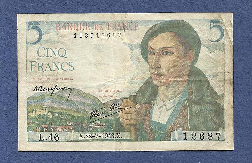 FRANCE 5 FRANCS 1943 Banknote 113512687 Historic WWII ISSUE Shepherd Woman w/Flowers