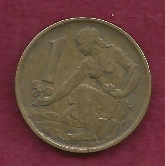 Czechoslovakia 1 Koruna 1977 Coin Woman planting Linden tree