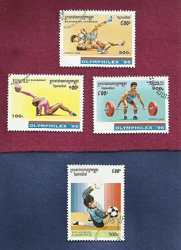 CAMBODIA 1996 OLYMPHILEX'96 SET Of THREE STAMPS + BONUS 1996 World Soccer Stamps