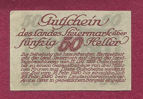 AUSTRIA 50 Heller 1920 Banknote Steiermark, Notgeld P10312 - Light Green