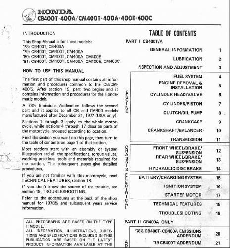 78-81 Honda CB400T CM400T CM400A CM400E CM400C Service Repair Shop Manual on CD