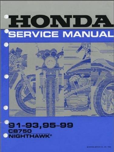 1991-1999 Honda CB750 Nighthawk 750 Service Repair Shop Manual on CD