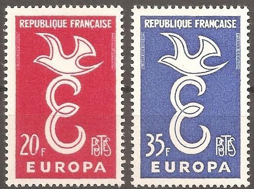 [FR0889] France: Sc. no. 889-890 (1958) MNH Complete Set
