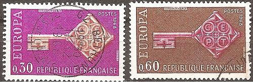 [FR1209] France: Sc. no. 1209-1210 (1968) Used Complete Set