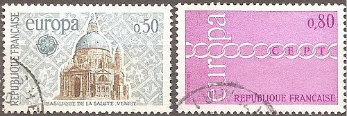 [FR1304] France: Sc. no. 1304-1305 (1971) Used Complete Set