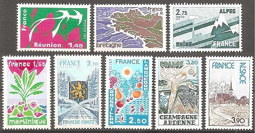 [FR1507] France: Sc. no. 1507-1514 (1976) MNH Full Set