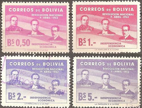 [BO0378] Bolivia: Sc. no. 378-380 (1953) Used