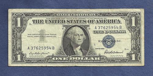 US 1957 $1 Dollar Banknote # A37625954B - SILVER CERTIFICATE !!! - Blue Seal