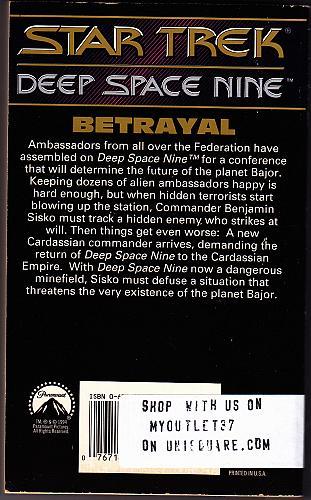 Star Trek - Betrayal (Deep Space #6) By Lois Tilton 1994 Paperback Book - Very Good