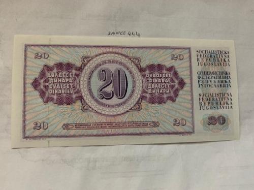 Yugoslavia 20 dinara unc. banknote 1981