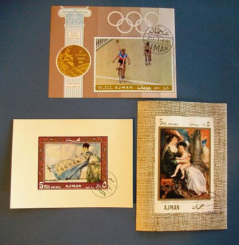 1968-70 Ajman Paintings and Olympic Games Souvenir Sheets
