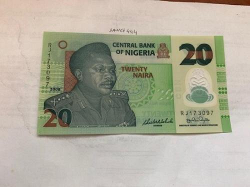 Nigeria 20 naira polymer unc. banknote 2008
