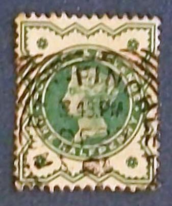 "1900 Great Britain ""Queen Victoria-Postage and Revenue-bluish green"""