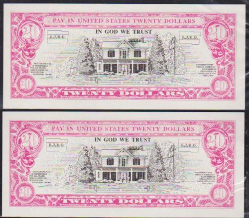 """(Lot of 2) 1980's $20 """"AFRICAN AMERICAN FACE RESERVE OBLIGATION"""" (AFRO) Note CU"""