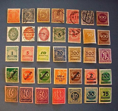 """1920's Germany (Empire Era) """"Official Stamps, Overprints"""""""