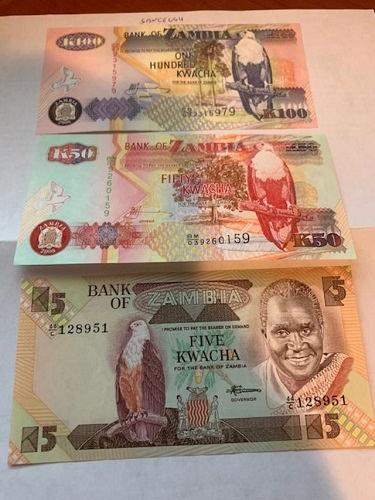 Zambia 5+50+100 kwacha banknotes 2008